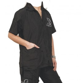 """Preciosa"" black short-sleeved overall"