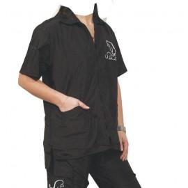 """Preciosa"" black short-sleeved overall"
