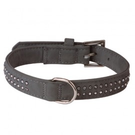 Soft leather adjustable collar - grey