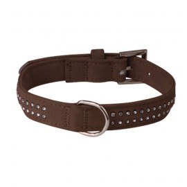 Soft leather adjustable collar - brown