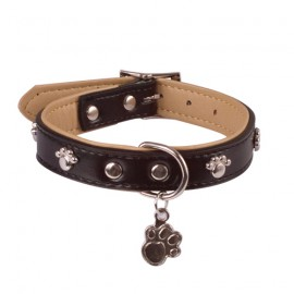 Doogy black leather collar with rivets