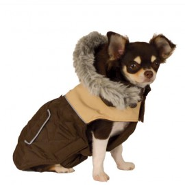Doogy Bicolor down jacket - Brown and beige