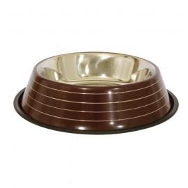 Stainless steel non-slip bowl - Brown