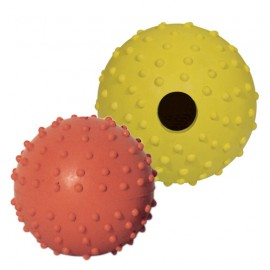Pierced ball dog toy