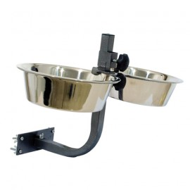 Wall-mount support for pet feed bowls