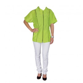 """Angela"" green short-sleeved overall"