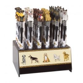 Display of 24 dog head pencils