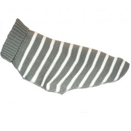 Doogy Fun sweater - Stripped white and grey