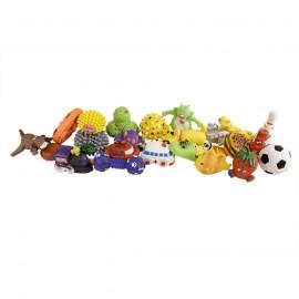 Set of 24 vinyl squeaky dog toys