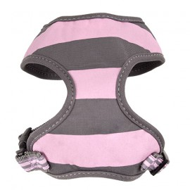 Doogy fantaisie tee-shirt harness - stripped grey and pink