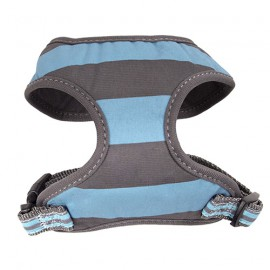 Doogy fantaisie tee-shirt harness - stripped grey and blue