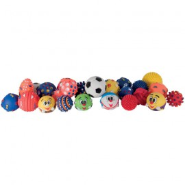 Set of 24 balls vinyl squeaky dog toys