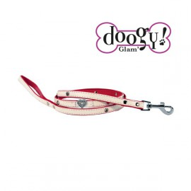 Pretty leather lead - Heart Red