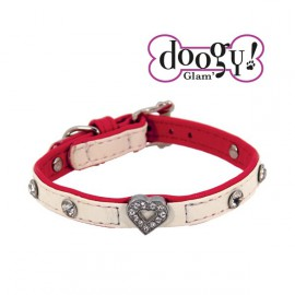 Pretty leather collar - Heart Red