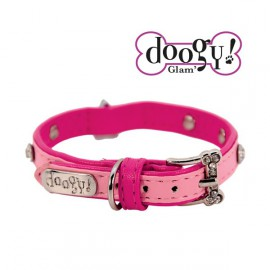Pretty leather collar - Heart Pink