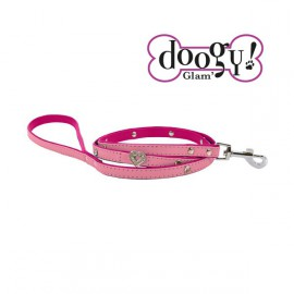 Pretty leather lead - Heart Pink