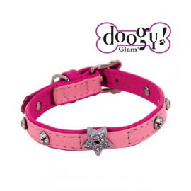Pretty leather collar - Star Pink