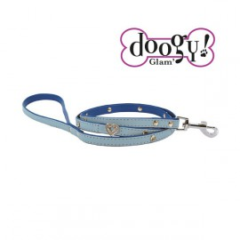 Pretty leather lead - Heart Blue