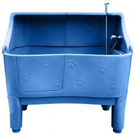 Grooming bathtub with back panel