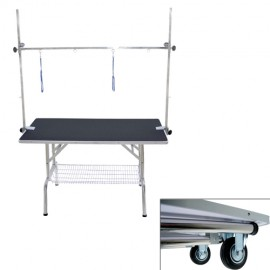 Double arm folidng table with wheels