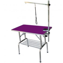 Double arm folding table with wheels purple
