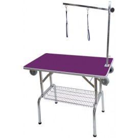 Single arm folidng table with wheels purple
