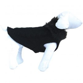 FANCY SWEATER WITH FUR COLAR - BLACK