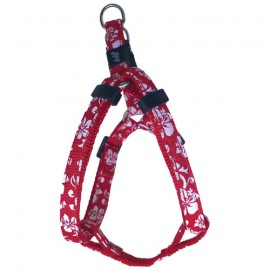 Dog adjustable harness Tahiti red