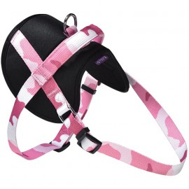 Dog easy harness camouflage pink