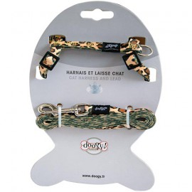 fancy cat harness and leash set leopard