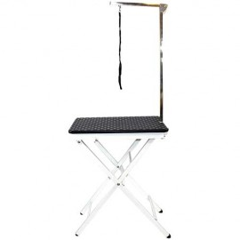 FOLDABLE GROOMING TABLE BLACK PLASTIC TOP 60X45X73 (82) CM 8 KG WITH ARM