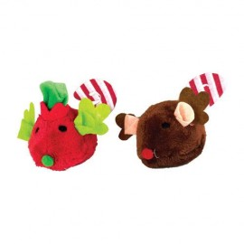 2 CHRISTMAS MOUSE 13CM SET FOR CAT
