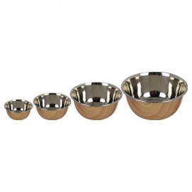 STAINLESS STEEL BOWL WOOD DESIGN