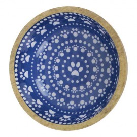 WOODEN BOWL WITH FANCY BLUE AND WHITE PAWS DESIGN