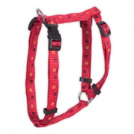 Doogy classic nylon harness  with paws prints - red