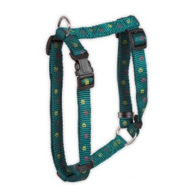 Doogy classic nylon harness  with paws prints - green