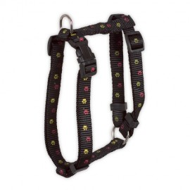 Doogy classic nylon harness  with paws prints - black
