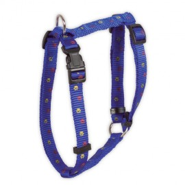 Doogy classic nylon harness  with paws prints - blue