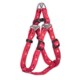 Doogy sling nylon harness  with paws prints - red