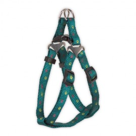 Doogy sling nylon harness  with paws prints - green