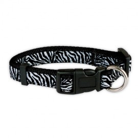 "Doogy ""Savane"" nylon collar - White Zebra"