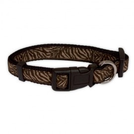 "Doogy ""Savane"" nylon collar - Brown Zebra"