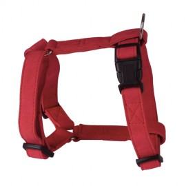 Soft leather adjustable harness - red