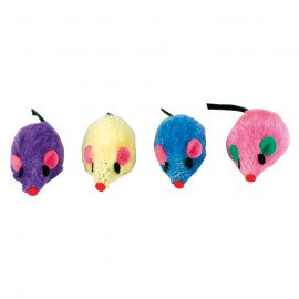 set of 4 coloured plush mice